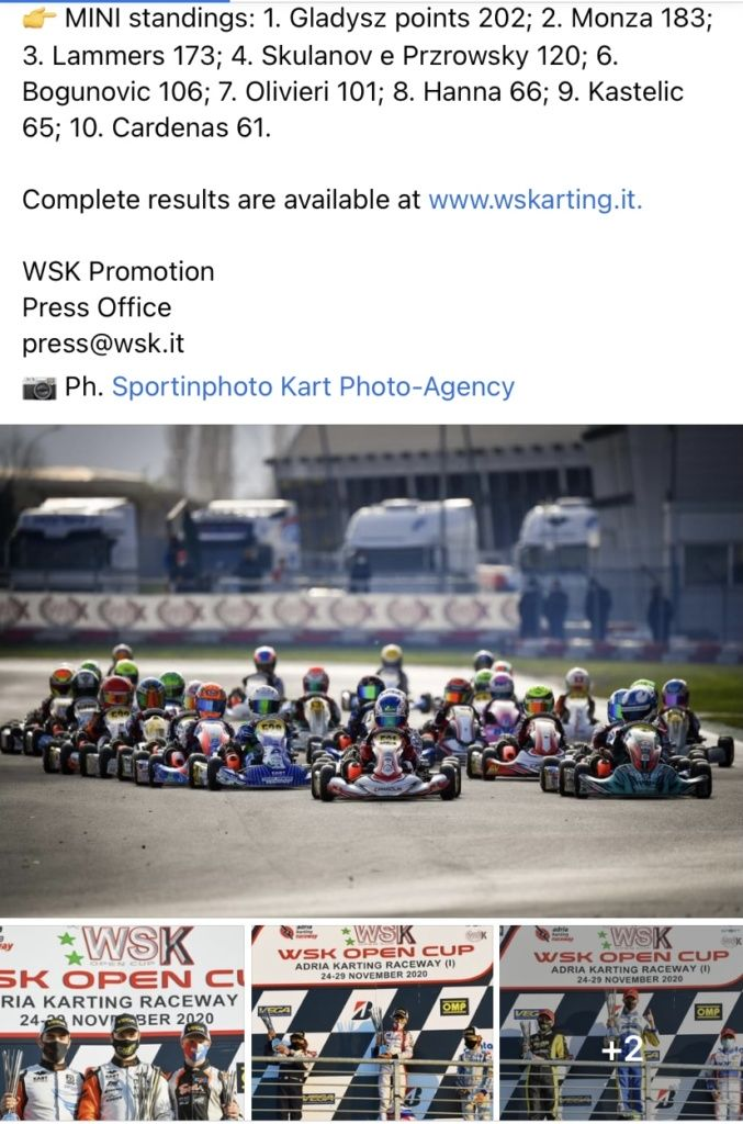 MINI standings 2020. WSK Promotion