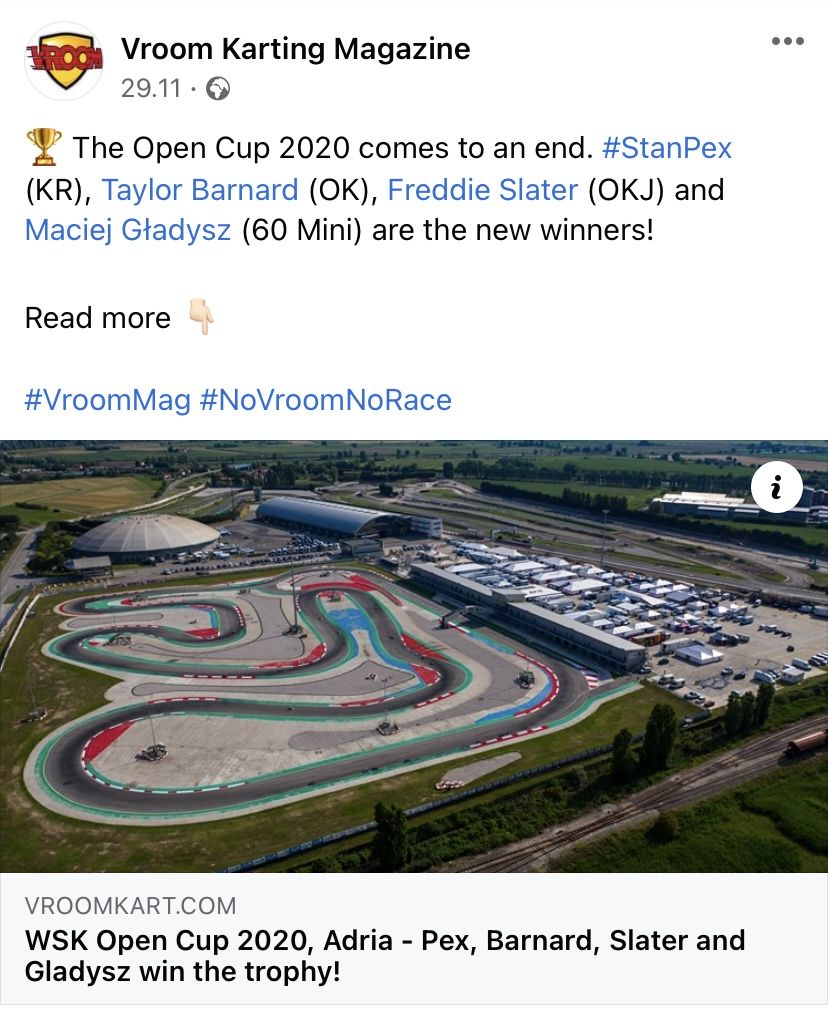 WSK Open Cup, the new WINNERS are... GLADYSZ (MINI). Vroom Kart